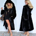 Fur Coat Female Outerwear Fox Fur Collar With Hooded Long Women 2016 Winter Overcoat Thicken Warm Top Mink Fur Jacket Plus Size