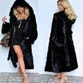 Mujeres Abrigo de piel de Zorro Prendas de abrigo de Cuello de Piel Con Capucha Larga de Las Mujeres 2016 Abrigo de Invierno Espesar Caliente Chaqueta de Piel de Visón Más Tamaño Superior
