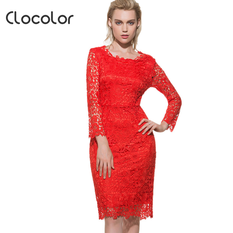 Clocolor bodycon dress sexy manga completa espalda abierta red hueco cabo Longit