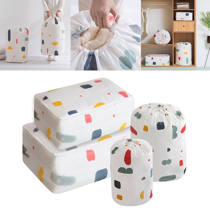 Home Storage Organization Bag Household Quilt Store Bags Drawstring Bag Large Baby Toys Storage Bags PEVA Material Waterproof