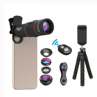 Phone Lens Kit Fisheye Wide Angle macro 18X telescope Lens telephoto for iphone xiaomi samsung galaxy android phones