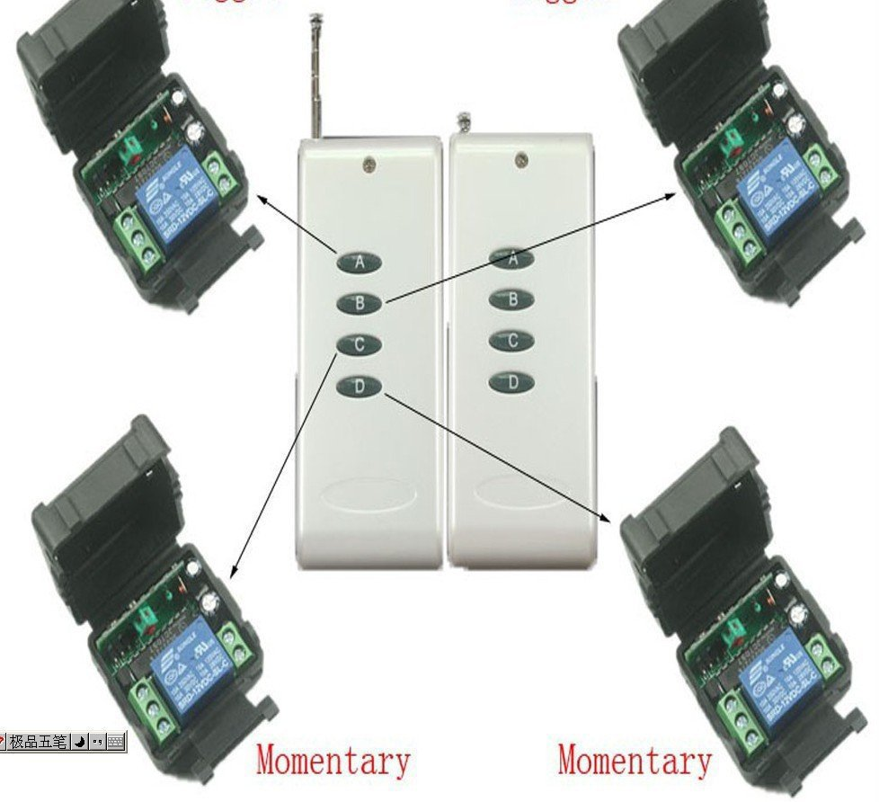 Free shipping 12V 1ch Wireless Remote Control switch System 1 Tansmitter & 4 Receivers 315MHZ/433MHZ home automation z-wave 2 receivers 60 buzzers wireless restaurant buzzer caller table call calling button waiter pager system