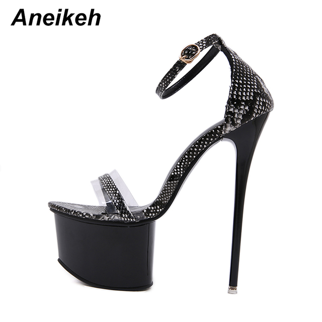 357b4ea853e Aneikeh Women Sandals Gladiator Party Ankle Strap Serpentine PVC Concise  Ultra Very High Heel Pumps 16CM Fetish Sandals Shoes