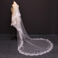 2017 Real Photos Two Layers Lace Edge Pearl Beaded Flower Wedding Veil WITH Comb Gorgeous 2