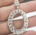 Forma Oval 18x25mm SÓLIDOS 14kt Ouro Branco Natural 1.25ct Diamante Lindo Pingente