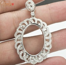 Oval Shape 18x25mm SOLID 14kt White Gold Natural 1.25ct Diamond Gorgeous Pendant