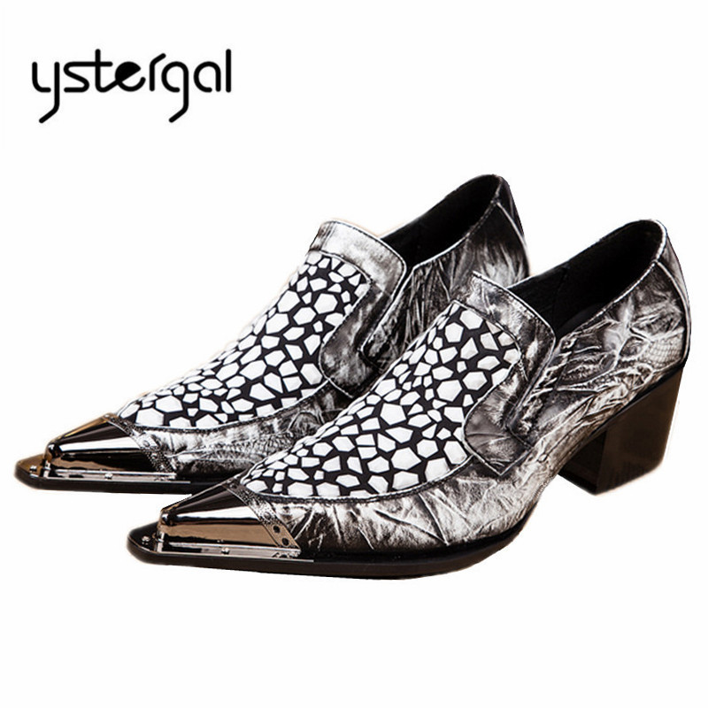 YSTERGAL Metal Pointed Toe Men Genuine Leather Oxford Shoes Slip On Mens Wedding Dress Shoes Business Formal Leather Shoe Flats