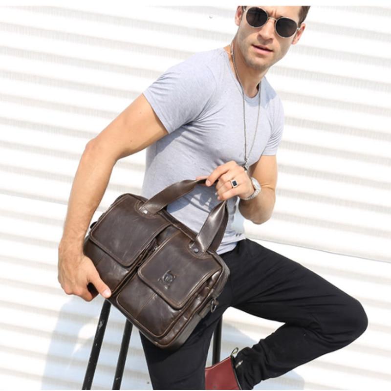 BULLCAPTAIN 2018 New Arrival Genuine Leather Bags For Men Wax Leather Shoulder Bag Satchel Briefcase Portfolio Men's Bag 2 color bullcaptain new arrival 100