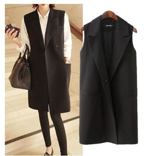 Brand New 2014 mujeres de la Manera Elegante Medio-largo Diseño Sleevless Negro Color de la Chaqueta Chaleco Chaleco Más Tamaño