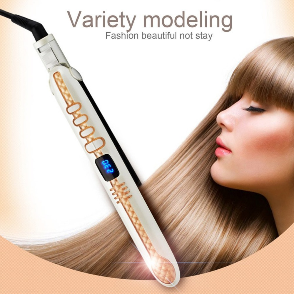 Hair straightener Hair Styling iron wavy hair Styling curls crimps Digital Display Blue Screen Thermoregulation Negative Ion titanium plates hair straightener lcd display straightening iron mch fast heating curling iron flat iron salon styling tools