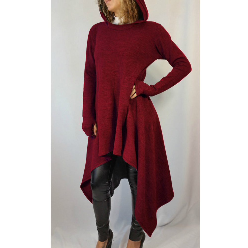 Winter Outfit Frauen Us 24 46 8 Off Aliexpress Buy Fashion Red Hooded Long Sleeve Women Maxi Winter Dress Irregular Stretchy Bandage Party Dresses Ladies Vestidos
