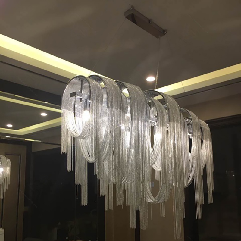 Aliexpress Tassel Luxury Silver Chain Led Replicas Atlantis Chandelier For Living Room Bedroom Hotel Restaurant Terzani Suspension Light From