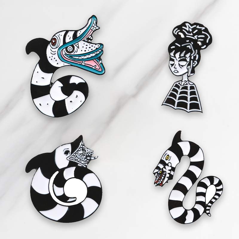 Beetlejuice Cartoon Sandworm Lydia Deetz Reptile Animal Occult Gift Black White Snake Soft Enamel Pin Snake Brooches Pins Badge Buy At The Price Of 0 76 In Aliexpress Com Imall Com