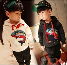 2016 autumn and winter new boy cartoon embroidery carp brushed hooded sweater
