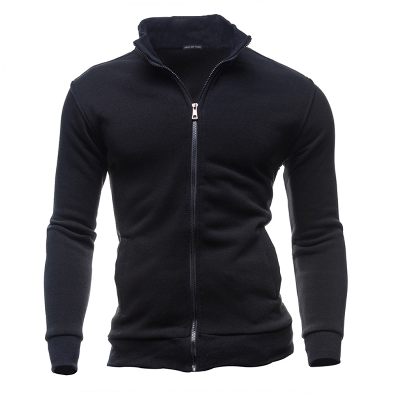 2016 New Stand Collar Men's Hoodie Fashion and High Quality Jacket Mens Sweatshirt Man Zipper Coats Cotton Sweatwear