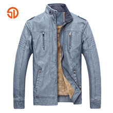 Retro Motorcycle Leather Jacket Mens Fleece Spring Winter Plus Size XXXL Fashion PU Leather Thick Coat Male M-3XL Blue Brown