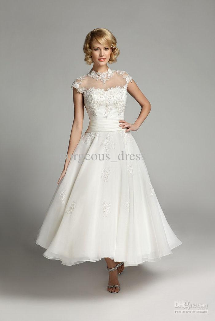 Online Shop Hot Sale A Line Tea Length Informal Short Wedding Dresses Sleeve Closed Back Appliquees White Tulle Dress RW519