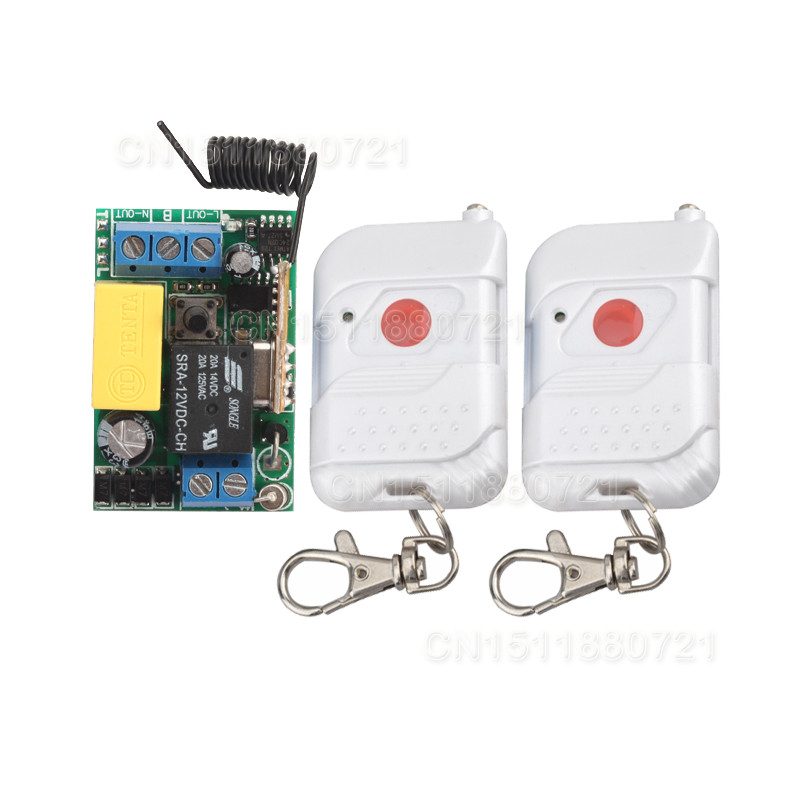 Smart house 220V 1CH RF wireless remote control light switch system With 2 transmitter z-wave free shipping 12v 4ch wireless remote control switch system momentary toggle on off smart house 315mhz 433mhz z wave