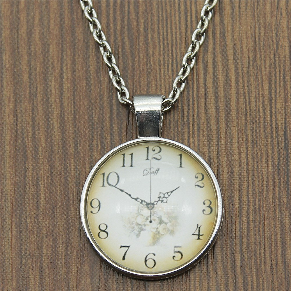 2 Colors Fashion Vintage Clock Dial 25mm Glass Cabochon Necklace For Women Jewelry Gift Dropshipping Supplier