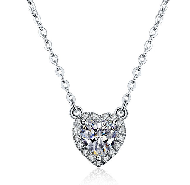 TN030 2ct Immaculate Bright Heart Shape Cut Synthetic Gem Pendant 925 Sterling silver Wedding Engagement Necklace rhinestone heart shape pendant necklace