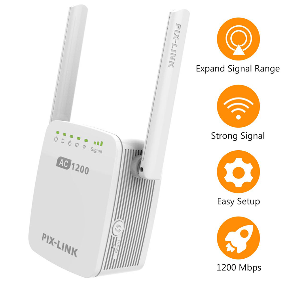 1200Mbps PIXLINK WiFi Range Extender Wireless Repeater WiFi Extender Internet Signal Booster With External Antennas Full Covera