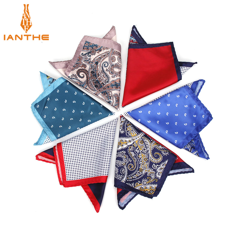 2018 Brand New Men's Handkerchief Vintage Paisley Dot Solid Pocket Square Soft Silk Hankies Wedding Party Hanky Chest Towel Gift
