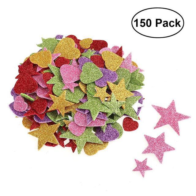 Bestoyard 150pcs Foam Star Heart Glitter Stickers For Wall Ceiling Diy Projects Christmas Party Decoration