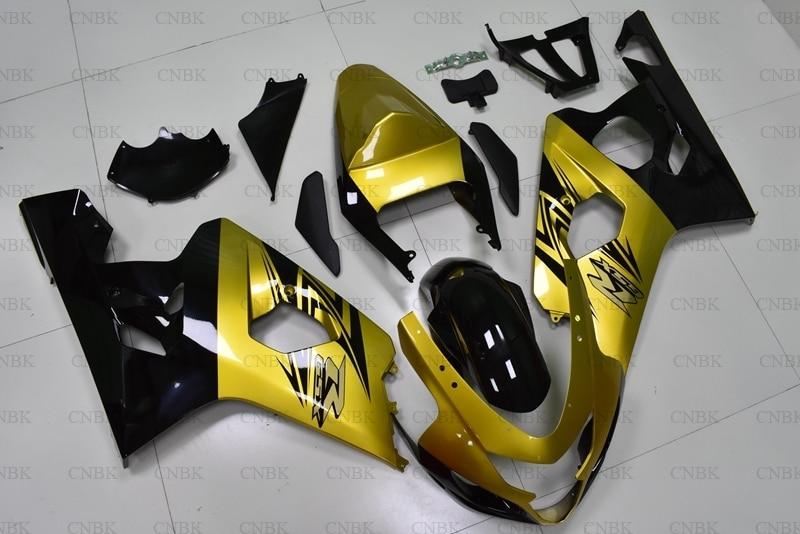 を gsx R 600 2004 2005 K4 フェアリングキット GSX R600 2004 ゴールド黒フルボディキット GSXR750 2005 ボディワーク未塗装  グループ上の 自動車 &バイク からの 楽器 の中 3