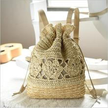 2018 Summer Drawstring Lace Crochet Straw Beach Bags Designer High Quality Female Hollow Out Flower Handmade Knitted Backpack...