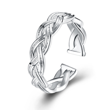 New 925 Knitted Shape Ring Silver Color Plating Open Finger Ring Nice ACC Jewelry for Women Friend Christmas Gift