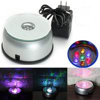 Colorful Unique Rotating Crystal Display Lamp Base Stand Battery Powerer 7 LED Light With AC Adapter