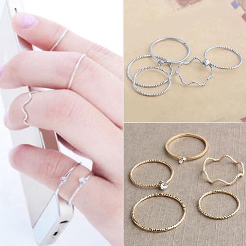 5Pcs/Set Band Ring Wave Stack Above Knuckle Midi Rings Set Lady Valentine Bijou Jewelry Charm