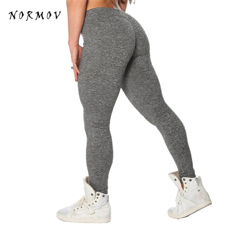 NORMOV Fitness Womens   Leggings   Polyester Solid Casual V-Waist Ankle-Length Plus Size Legins Push Up Workout   Leggings   Female