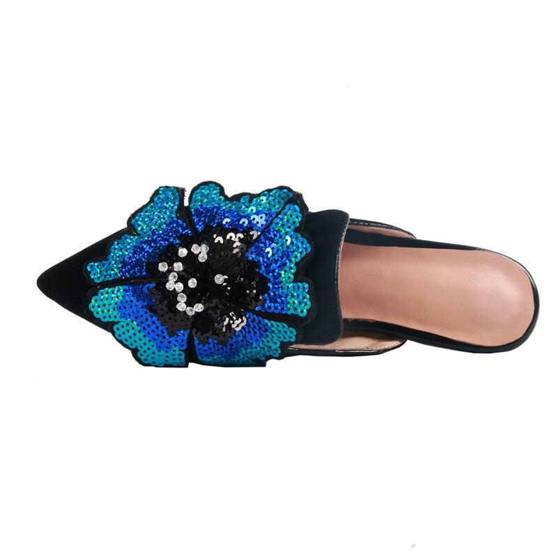 Fleur Explosions Pantoufles Été De Chaussures Smeeroon 2019 Extérieur Cuir Pour Pointu Soirée Femme Bout Printemps Daim Bleu Nouvelles En Y67gbfy