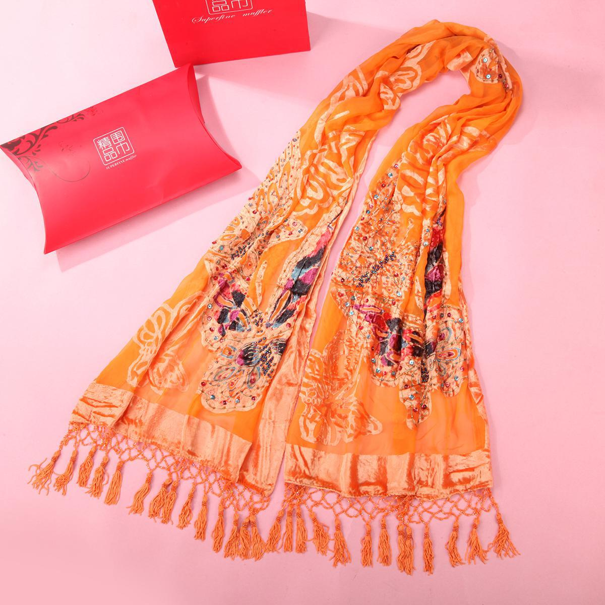 Large Size Shawls Women's Velvet   Scarves     Wrap   Orange Handmade Beaded Muslim Hijab Hufanda Butturfly Shawl Cape Poncho   Scarf   Chal