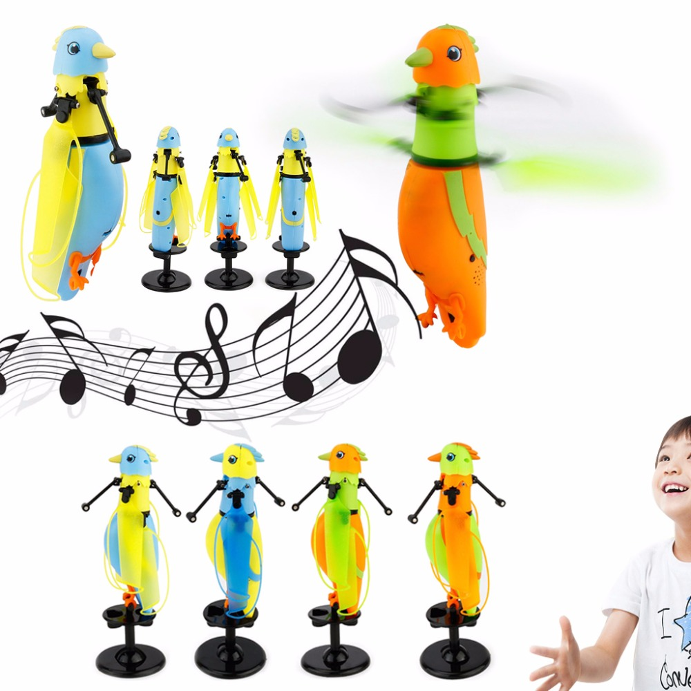 Mini Induction Bird Drone Helicopter Aircraft Light USB Flying Bird Music Sound