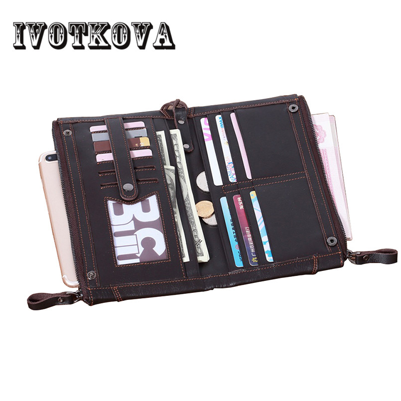 IVOTKOVA Genuine Leather Men Wallet Male Long Clutch Boy Wallet Luxury Brand Money Bag Zipper Coin Purse Carteira Masculina new fashion men s wallet men zipper business clutch male money bag carteira brand long purse multifunction coin