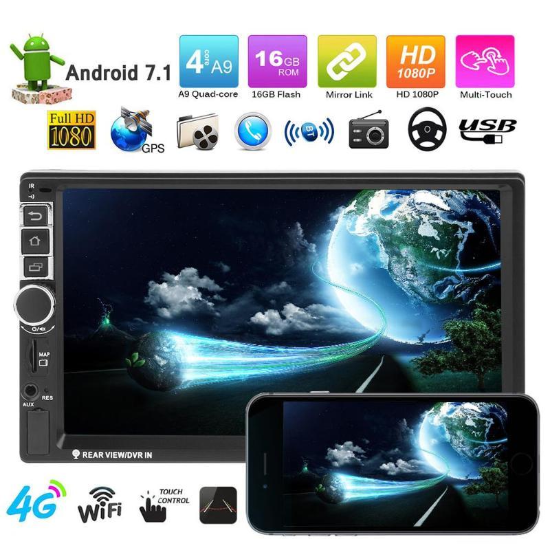 Vodool 7 дюймов Сенсорный экран 2Din 1080 P Android 4G Wi-Fi Car MP5 плеер Bluetooth телефон автомобиль gps навигации цифровой Дисплей монитор