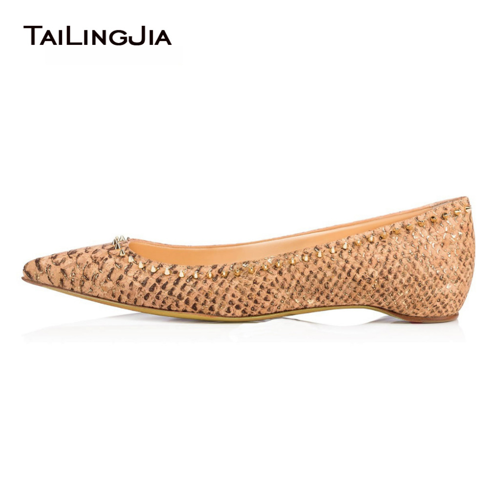 Women Spikes Flats 2017 Summer Autumn Spring Slip On Nude Snake Print Rivets Ladies Pointed Toe Ballet Shoes Plus Size 4-15.5 new 2017 spring summer women shoes pointed toe high quality brand fashion womens flats ladies plus size 41 sweet flock t179