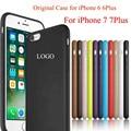Para apple logo sí oficial original case cubierta de silicona para el iphone 6 6 s plus 7 más case para iphone 7 plus para iphone Capa