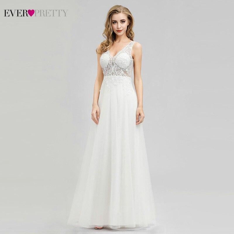 Elegant Wedding Dresses Ever Pretty EP00916CR A-Line V-Neck Sleeveless Elegant Cream Formal Bride Dresses Vestido De Novia 2020