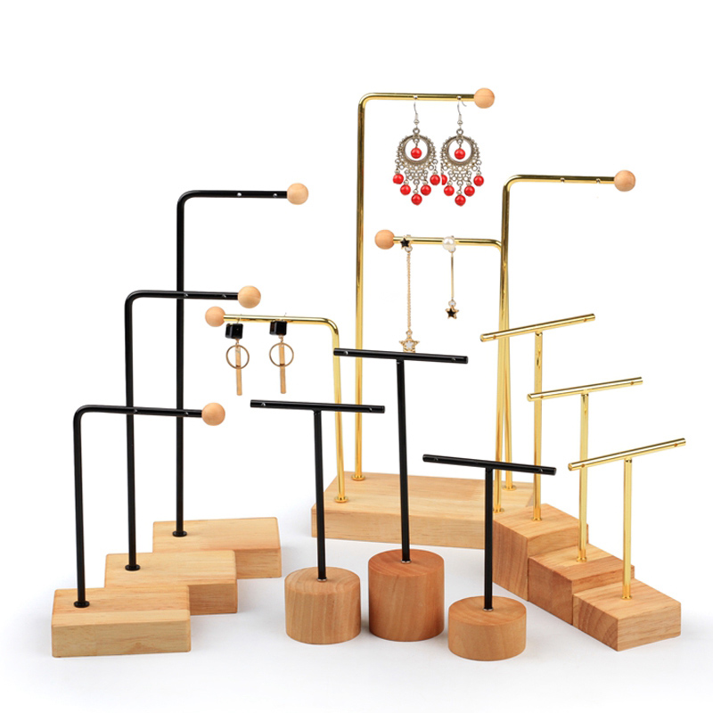 New Earring Holder, Wrought Iron Solid Wood Stud Display Stand, Earrings Storage Support, Jewelry Props Shooting Props