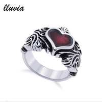 LLUVIA FASHION JEWELRY TRENDY RINGS TITANIUM STEEL JEWELRY RING FOR WOMEN HEART VINTAGE ANILLOS