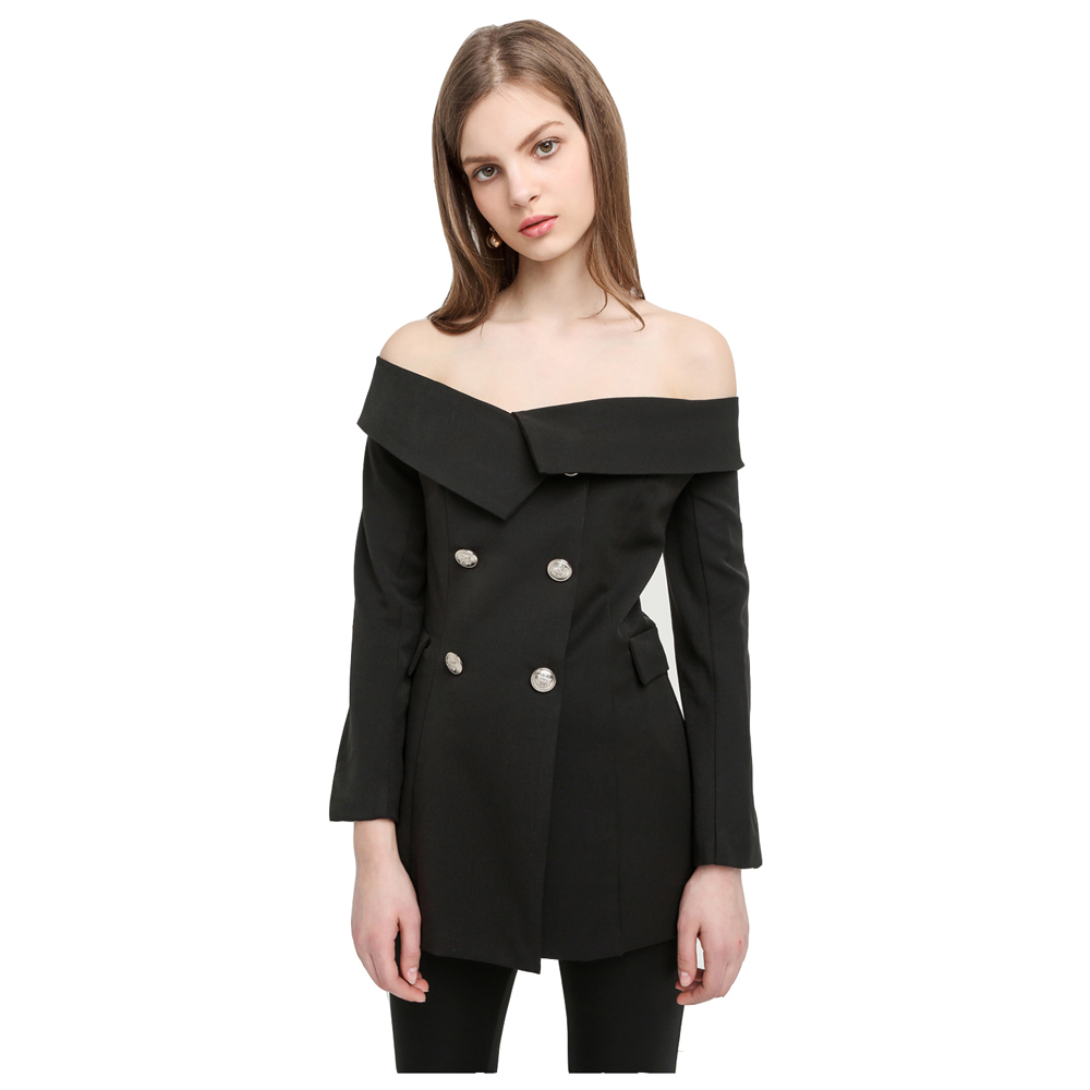 Off Shoulder Sexy Blazer Black Double Buttons Slash Neck Vintage Slim Coats Office Lady  ...