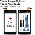 Сенсорный Экран Дигитайзер Передняя Сенсорный Экран Стекло Объектива для Acer Liquid Z220 Сенсорный Телефон Аксессуары + Подарок Инструменты