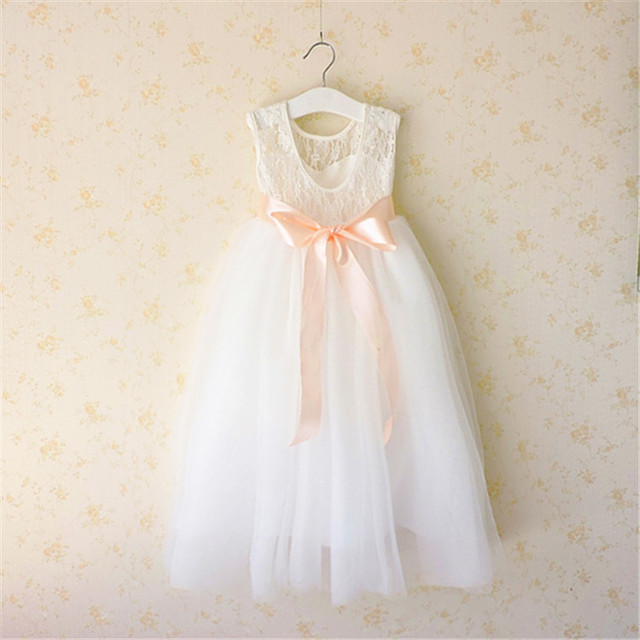 8ad1c355372 Everweekend Girls Summer Maxi Lace Dress with Bow Ruffles White Flower Girls  Dance Wester Princess Holiday Dress