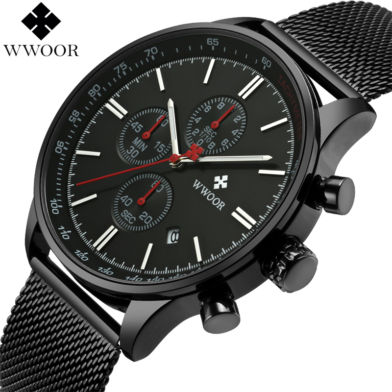 WWOOR Mens Chronograph Watches Waterproof Business Quartz Watch Men Brand Luxury Black Steel Mesh Strap Sport Watch Male Clock tomi brand fashion men business watch clock leather strap quartz wristwatches sport waterproof watch mens black watches
