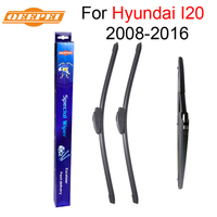 Combo Silicone Rubber Front And Rear Wiper Blades For Hyundai I20 2008 Onwards Windscreen Wipers Car