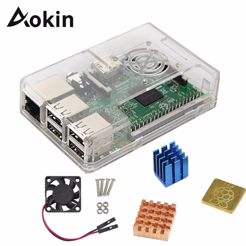 Защитный чехол Aokin из АБС-пластика с охлаждающим вентилятором + радиатор 1 алюминий + 2 медных чехла для Raspberry Pi 4B 4 3 B +/3/2/ B + крышка