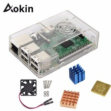 Aokin ABS Protective Case Cover With Cooling Fan + Heat Sink 1 Aluminum + 2 Copper For Raspberry Pi 4B 4 3 B+/3/2/ B+ Cover